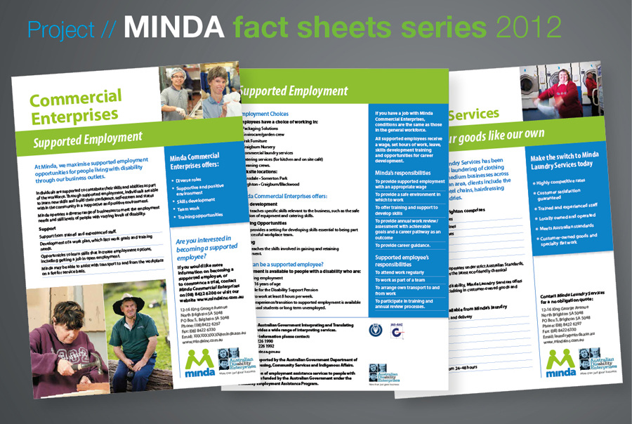 Minda Fact Sheet Series  Anita Gibbs Graphic Design Freelance