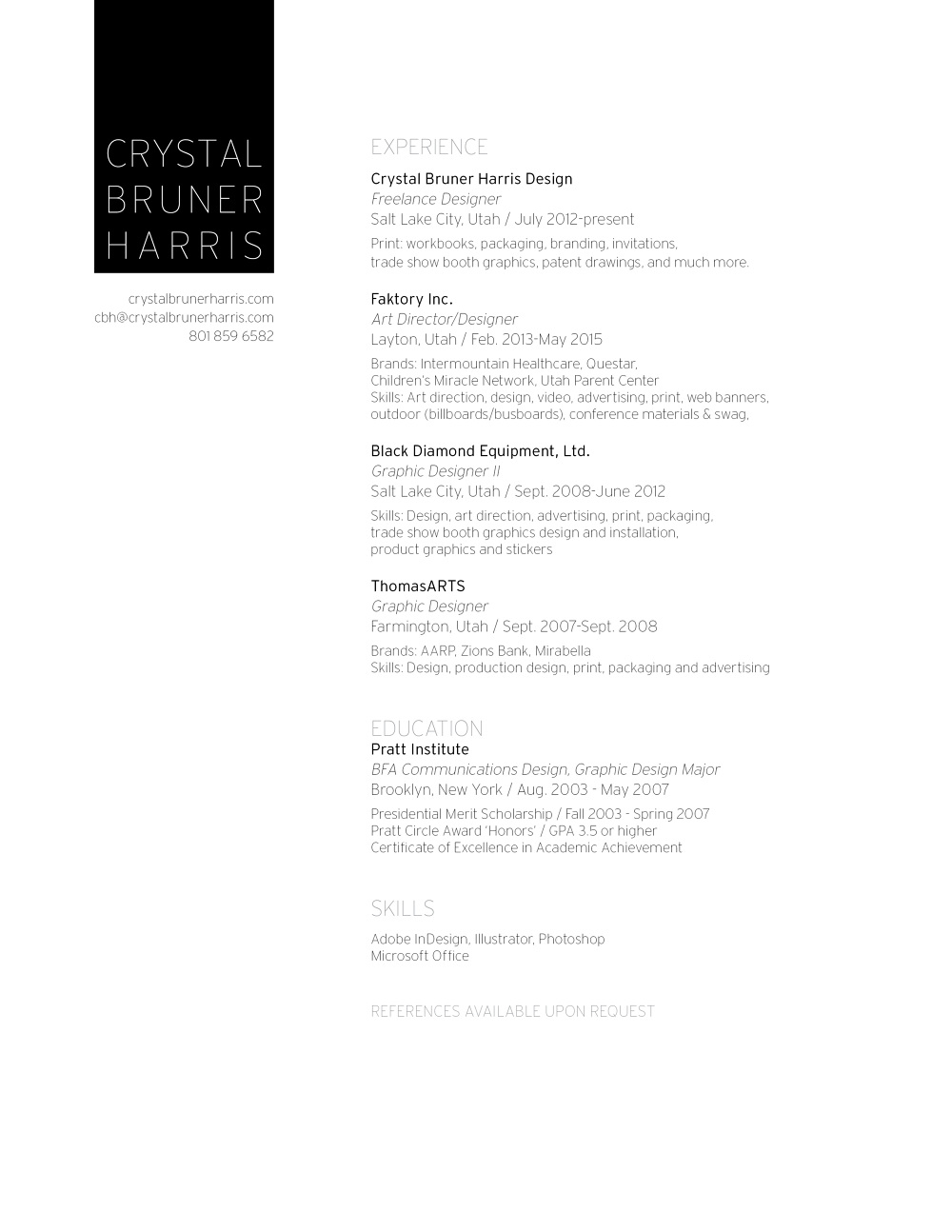 Download resume Resume Crystal Bruner Harris art