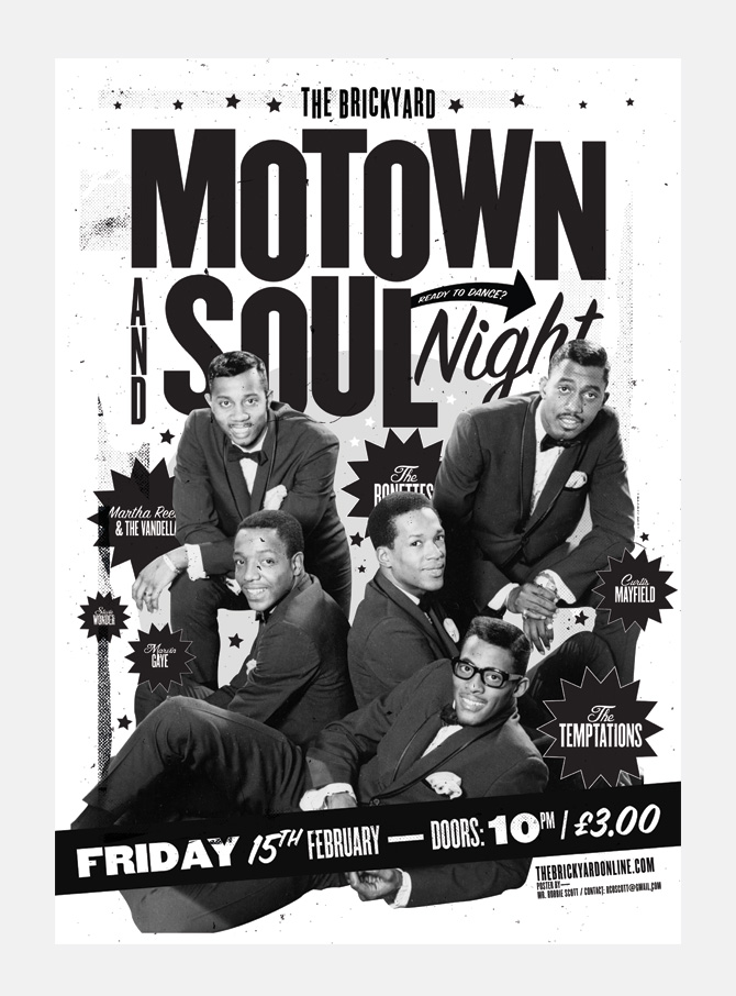 The Brickyard's Motown & Soul Night - Robbie Scott: Design ... Number Designs